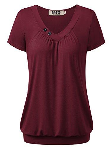 DJT Damen Basic V-Ausschnitt Kurzarm T-Shirt Falten Tops mit Knopf Dunkelrot M