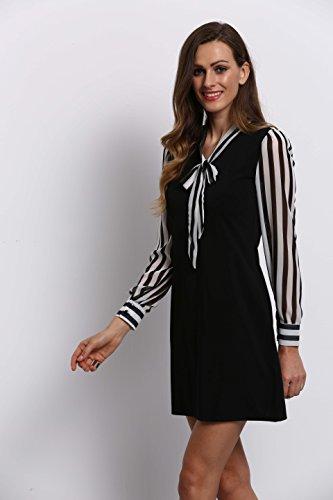 ROMWE Damen Casual Smart Kleid mit Schleife und Streifen Details Blusenkleid Schwarz