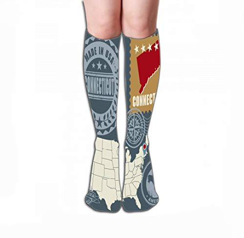 Xunulyn Hohe Socken Print Women's Knee High Socks Athletic Over The Calf Tube 19.7