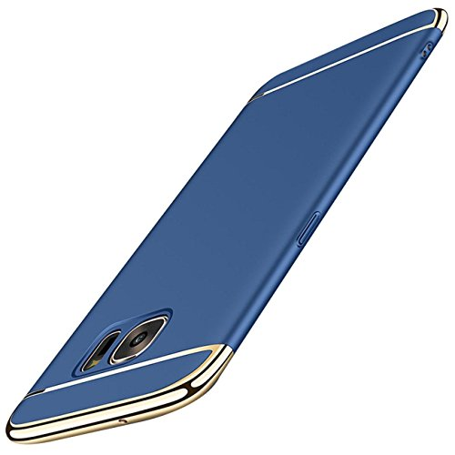 Samsung Galaxy S6 Edge Carcasa ,Qissy® 3 en 1 Bumper Carcasa Funda para Samsung Galaxy S6/S6 Edge Plus Casco Dura rígida PC for Samsung Galaxy S7 /S7 Edge (Samsung Galaxy S6 Edge, Azul)