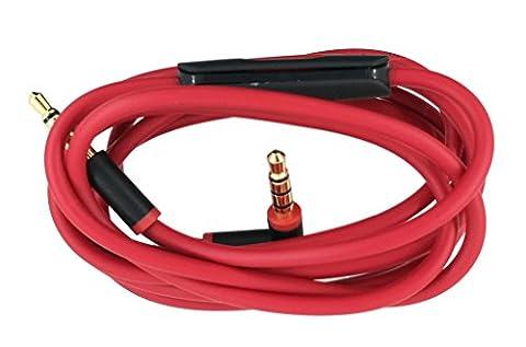 Beats câble de remplacement câble audio avec Inline télécommande Talk pour Beats by Dr. Dre Solo HD Casque sans fil Studio Pro Detox Solo 2.0