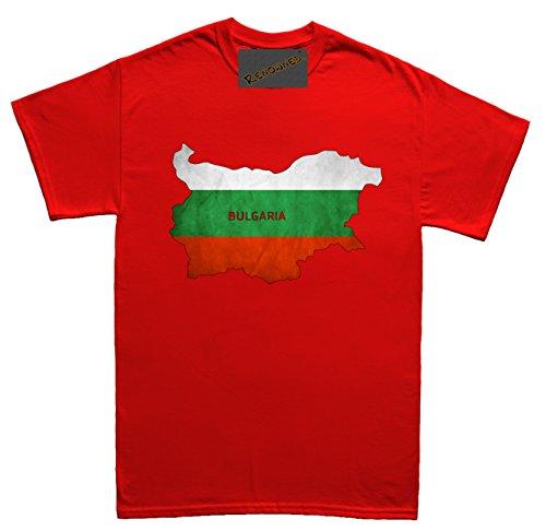 Renowned Bulgaria Flag Map Grunge Unisex - Kinder T Shirt Rot