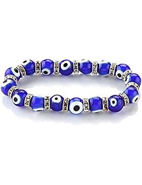 Skyllc® 10mm Armband Set Auge Glas Murano Perlenarmband Armkette Blau Neu TREND