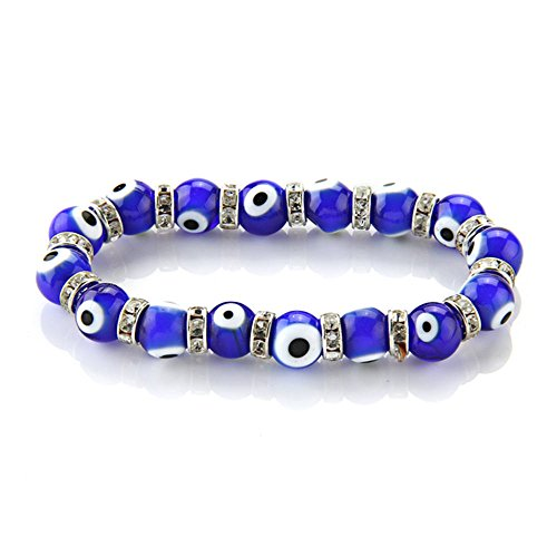 Skyllc Brazalete Pulsera Cristal de murano Redondo Ojos Azul 10 mm Moda