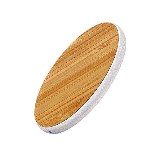 Carga inalámbrica Pad iPhone, Wireless cargador rápido Qi, ultra slim cargador inalámbrico Samsung Classic Retro grano de madera Metal marco para iPhone X/8/8Plus, Galaxy S8/S7y otros Qi-enabled dispositivos