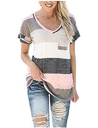 Zaywind Damen Sommer Buntes Gestreiftes Loose Kurzarm V-Ausschnitt Shirt Hemd Bluse T-Shirt Tops