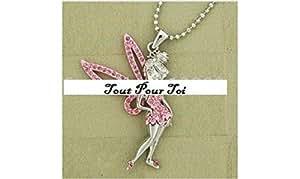 Collier chaine mailles billes plaqué argent 925/1000 pendentif fée clochette CZ rose