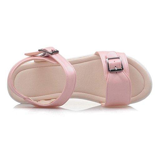 RizaBina Femmes Confortable Compenses Bout Ouvert Sangle De Cheville Sandales De Boucle Rose
