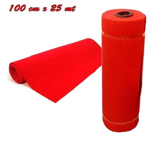 25 metri rotolo tappeto passatoia natalizia rossa altezza 1 metro, lunghezza 25 metri, ideale per natale, chiesa, matrimonio, arredo negozi