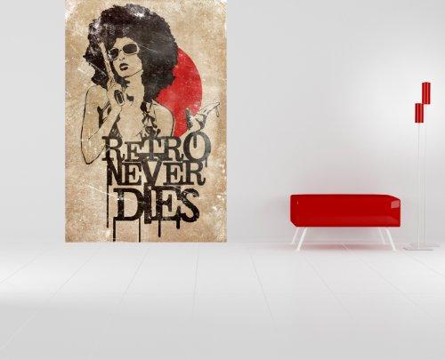 Fototapete - Retro Never Dies - 200x300 cm - mit Kleister - Poster - Foto auf Tapete - Wandbild - Wandtapete - Vliestapete ()