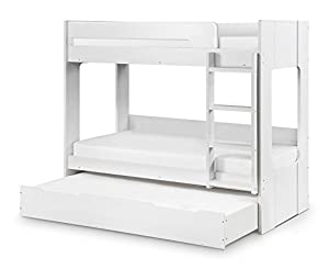 Happy Beds Ellie Bunk Bed Wooden White Underbed Storage Drawer Frame 3Ft Single 90 x 190 cm