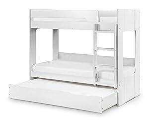 Happy Beds Ellie Bunk Bed Wooden White Underbed Storage Drawer Frame 3FT Single 90 x 190 cm (White, 3FT - Frame Only)