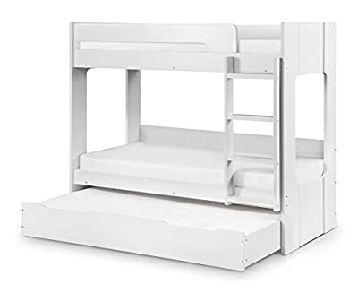 Happy Beds Ellie Bunk Bed Wooden White Storage Drawer 2 x Orthopaedic Mattresses 3' Single 90 x 190 cm - inexpensive UK light store.