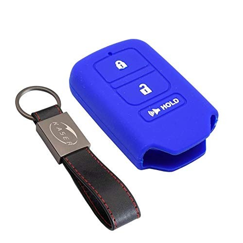kaser Funda Silicona para Llave Honda - Carcasa Llaveros 3 Botones para Coche Accord CR-V Crider Civic HRV Cover Case Protección Remoto Mando Auto (Azul/Solo Keyless GO)