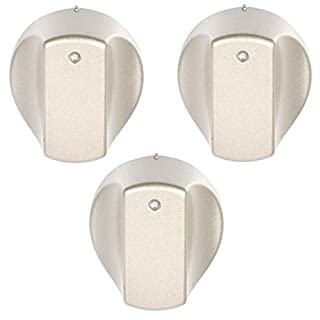 SPARES2GO Hot-Ari ix Control Switch Knobs for Hotpoint Oven Cooker Hob (Silver, Pack of 3)