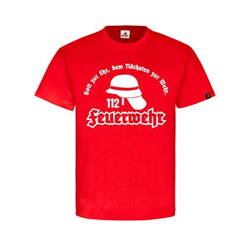 Feuerwehr Gott zur Ehr dem Nächsten zur Wehr Freiwillige FF T-Shirt #31950, Farbe:Rot, Größe:Herren XXL