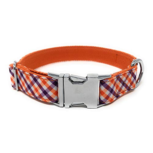 ooles Hundehalsband, personalisierbar für XS, S, S, M, L, Hund, Katze, Welpen, lustige Geschenkidee, Small, Purple/Orange/White Plaid ()