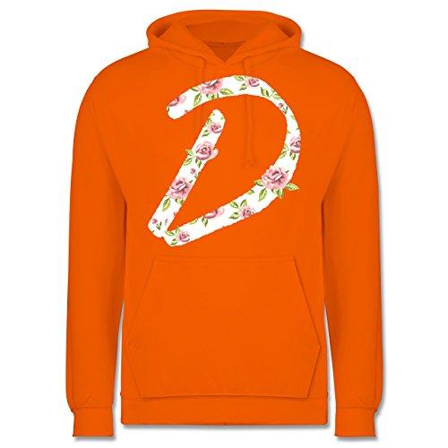 Anfangsbuchstaben - D Rosen - Männer Premium Kapuzenpullover / Hoodie Orange
