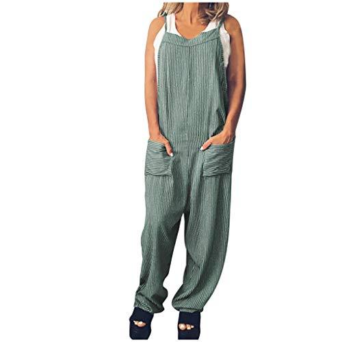 12shage Damen Jumpsuit mit Träger Retro Overalls Sommer Herbst Lose Hose Lange Baggy Sommerhose - Bib Detail Bluse