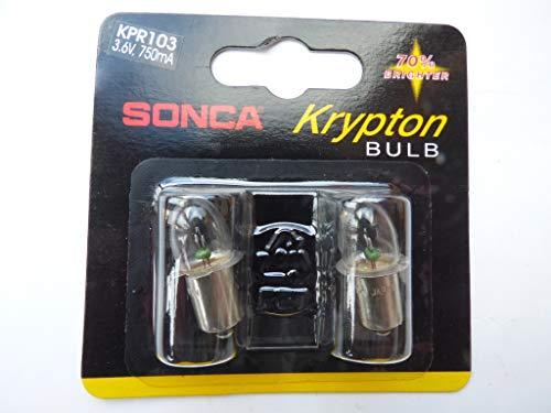 2x Krypton-Glühlampe 3,6V, 0,75A, Fassung P13,5 S, (für Taschenlampen mit 3 Batterien) (Krypton Taschenlampe)