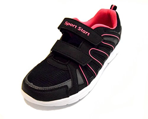 TMY SD167-3 Sportschuhe für Herren und Damen, Farbe Schwarz-Gruen , Gr.: 36-46 Schwarz/ Pink