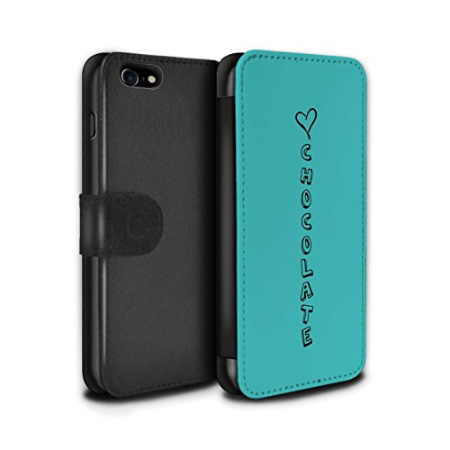 Stuff4 Coque/Etui/Housse Cuir PU Case/Cover pour Apple iPhone 8 / Blue/Câlins et Baisers Design / Coeur XOXO Collection Bleu/Amour Chocolat
