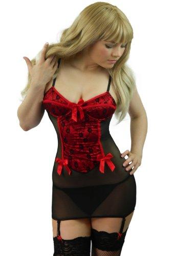 Schiere Lila Kleid (Yummy Bee Babydoll Kleid Reizwäsche Body Dessous Strapshalter + Netzstümpfe Größe 36-52 (Rot, 40))