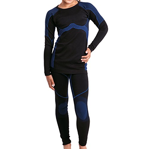 Gomati Kinder Thermo Funktions-Set Seamless Schwarz/Blau-134/140