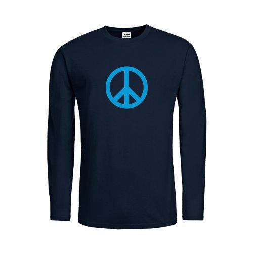 dress-puntos Kids Kinder Langarm T-Shirt Peace Symbol drpt-ktls00051-60 Textil deepnavy / Motiv hellblau Gr. 164