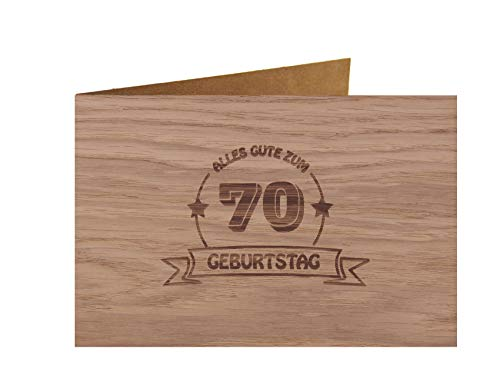 Holzgrußkarte - ALLES GUTE 70 GEBURTSTAG - 100{2dc2c1bcc69898601f52734456881837dfb70eb04d74672e9e46ca375242438f} handmade in Österreich - Postkarte, Geschenkkarte, Grußkarte, Klappkarte, Karte, Einladung, Glückwunschkarte