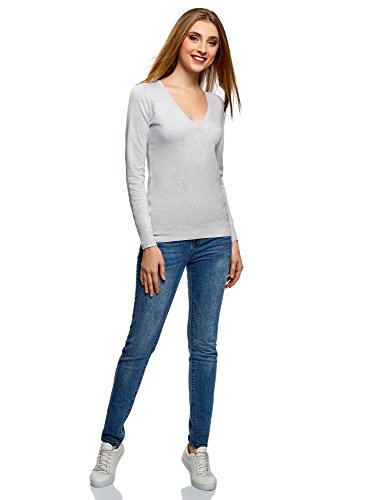 oodji Collection Damen Viskose-Pullover Basic mit V-Ausschnitt Grau (2000M)