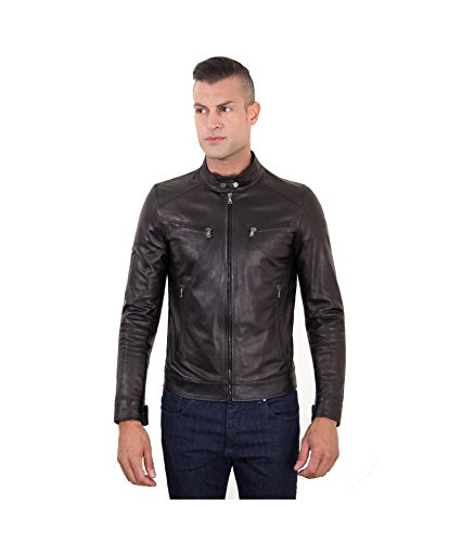 D'arienzo - hamilton - giacca in pelle nera quattro tasche - 48, nero