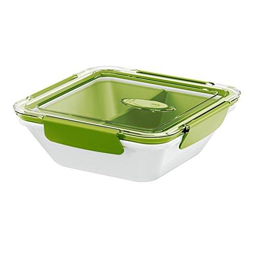Emsa 513960 Lunchbox mit Deckel, 2 Einsätze, 0,9 Liter, Grün/Weiss, Bento Box