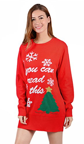 uideazone Junioren Frauen hässliche Weihnachts Pullover Tunika Top Schneeflocken Weihnachtsbaum Print Pullover Kleid rot