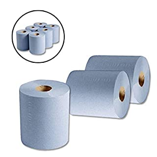 Wellpack Europe 12 x ROLLS of BLUE 2 PLY EMBOSSED CENTREFEED KITCHEN PAPER TOWEL ROLL