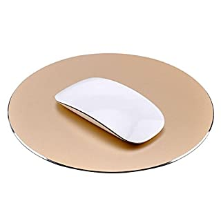 Gaming Mouse Pad AndThere Waterproof Aluminium Mouse Mat Comfortable Mouse Mat Circular Metal Mouse Pad with Waterproof Non Slip Rubber Base and Frosted Surface for laptop PC Computer [Gold]
