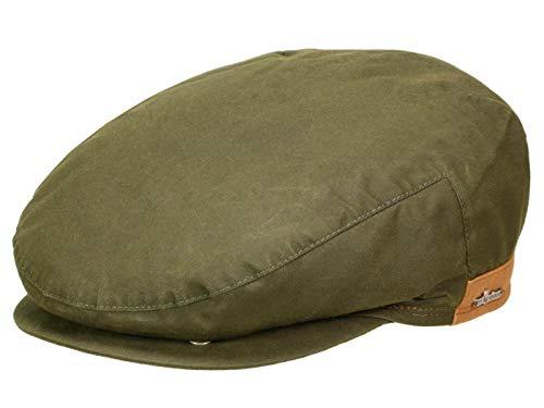 Wigens Walker Gore-Tex Schirmmütze mit Ohrenklappen aus gewachster Baumwolle - Oliv (85) - 59 cm