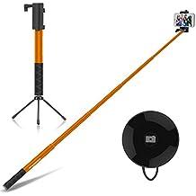 MoKo Allungabile Selfie Stick Wireless 4ft, con Bluetooth Controllo Remoto, Phone Clip Supporto Regolabile, Treppiede Metallico, Compatibile a Gopro & Smartphone iPhone 6s Plus, Samsung S7 Edge, ARANCIO