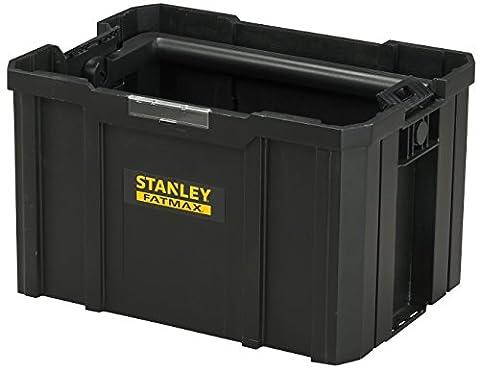 Stanley FatMax Werkzeugtrage / Werkzeugbox TSTAK (zum Verstauen und Transportieren von Werkzeug, mit ergonomischen und klappbaren Handgriff, geräumige und leicht zugängliche Konstruktion) (Stapelbare Teile)