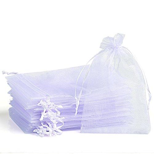 Naler 120 x Organza Säckchen Weiß Organzabeutel Schmucksäckchen Geschenktüten-10x15cm -