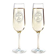 Idea Regalo - AMAVEL - Set 2 Calici da Spumante con Incisione - Evviva Gli Sposi! - FEDI Nuziali - Flute da Champagne - Idee Regalo Matrimonio - Regalo Romantico per Coppia - Decorazioni Matrimonio