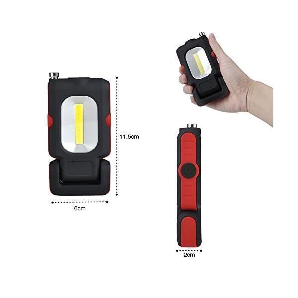 WOOPHEN Lampada da Lavoro a LED Portatile, Torcia Multiuso COB, Base Magnetica, a Batteria con Illuminazione da 5000K, per Riparazioni Auto, Campeggio, Blackout ed Emergenze 3 spesavip