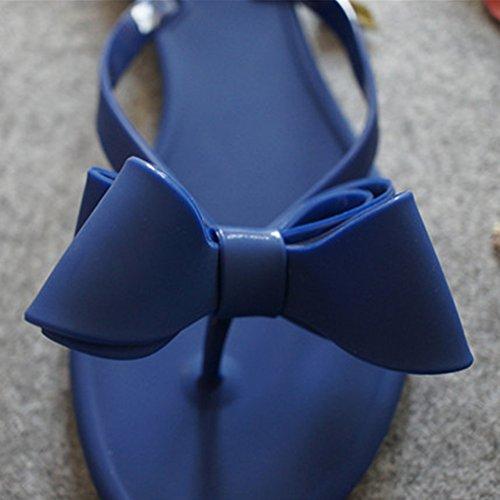 Eastlion Frauen und Mädchen süße Bogen flache Sole Flip Flops Strings Sommer Hausschuhe Strand Hausschuhe Sandalen Schuhe Blau