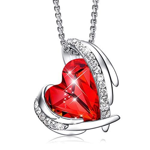 CDE Collier en or blanc 18 carats avec pendentif en forme d'ange rouge en forme de cœur avec cristaux Swarovski pour femme, cadeau pour la Saint-Valentin, la fête des mères