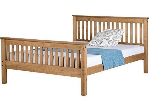 Seconique Monaco Solid Pine Wooden Bed Frame - Single, Double, Kingsize - Antique Pine, Distressed Waxed Pine or White (Distressed Waxed Pine, 5FT Kingsize)