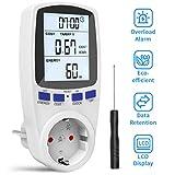 Gafild Medidor de consumo de corriente del medidor de energía,Monitor Contador de Electricidad con Pantalla LCD Retroiluminada,protección contra sobrecarga,3680W