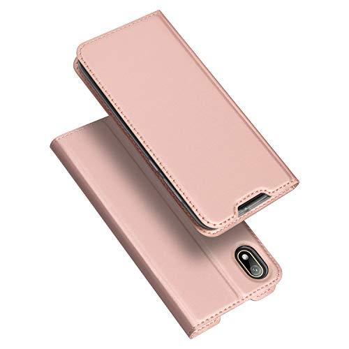 DUX DUCIS Hülle für Huawei Y5 2019, Leder Flip Handyhülle Schutzhülle Tasche Case mit [Kartenfach] [Standfunktion] [Magnetverschluss] für Huawei Y5 2019 (Rose Golden)