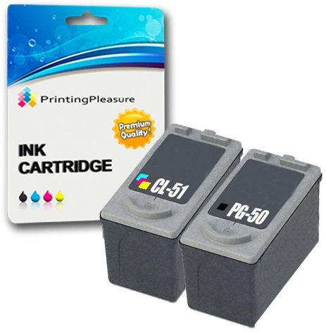 2 Druckerpatronen für Canon Pixma MP140 MP150 MP160 MP170 MP180 MP190 MP210 MP450 MP460 MX300 MX310 iP1600 iP1800 iP1900 iP2200 iP2500 iP2600 | kompatibel zu PG-50 (PG50) CL-51 (CL51) -
