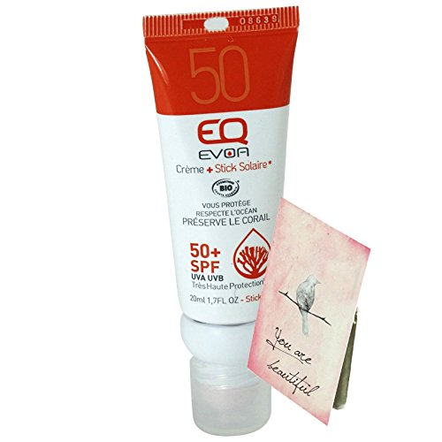 EQ EVOA - Protezione Solare Biologica - Combistick Crema Solare e Stick Labbra 2 in 1 - Fattore di Protezione SPF 50 Molto Alto - Per tutta la famiglia