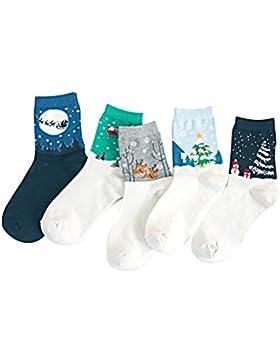 Tinksky Weihnachten Socken Crew Socken Hirsch Schneeflocke Patterned Urlaub Lange Socken 5 Paar (Schwarz Grau...
